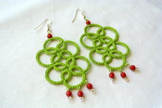 Tatted earrings chandelier lime green lace jewelry by Ilfilochiaro,