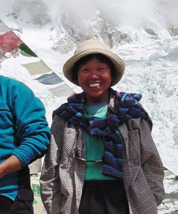 73 year old summits Everest...Tamae Watanabe, of Japan, at a base camp on the foot of Mt Everest in Nepal.