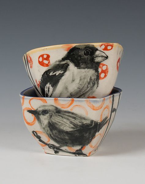 Songbird Bowl Set by Hannah Niswonger: Ceramic Bowls available at www.artfulhome.com