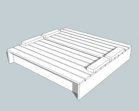 Actual plans for covered sand box with seats. All supplies available at Hadlock Building Supply!