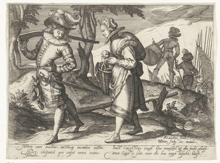 Trotse soldaat met jonge vrouw, Gillis van Breen, Theodorus Schrevelius, c. 1585 - c. 1610