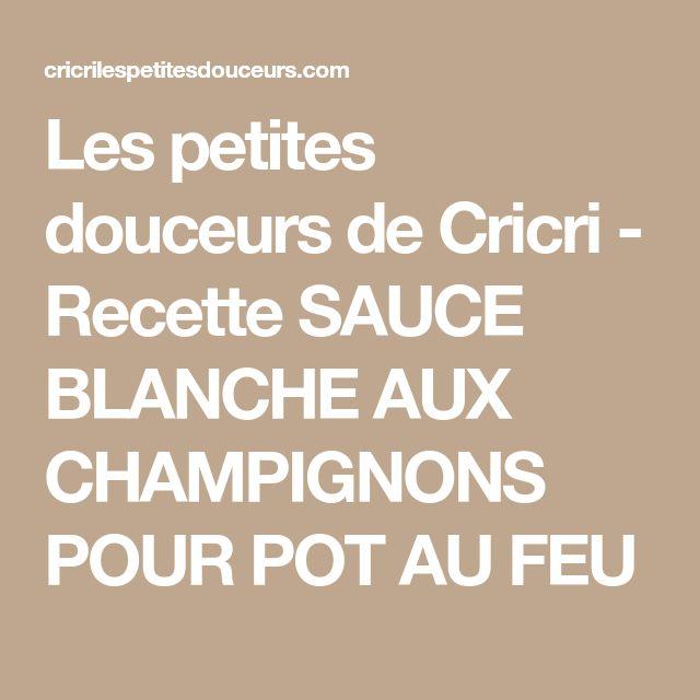Les petites douceurs de Cricri - Recette SAUCE BLANCHE AUX CHAMPIGNONS POUR POT AU FEU