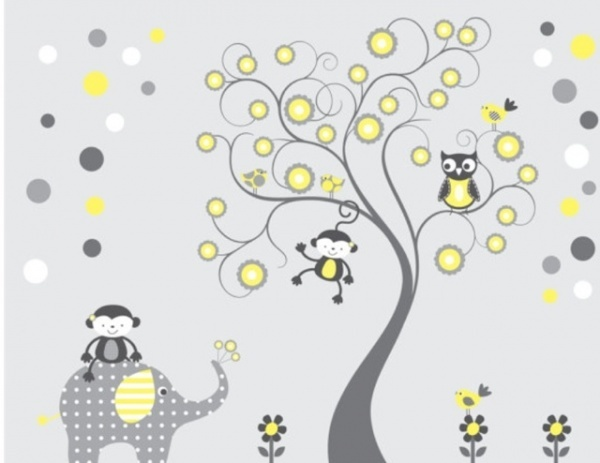 gray and yellow nursery wall decal