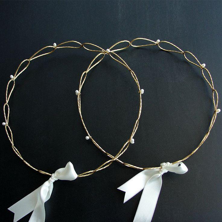 Stefana pair of greek wedding crowns orthodox by emmanuelaGR, $79.00