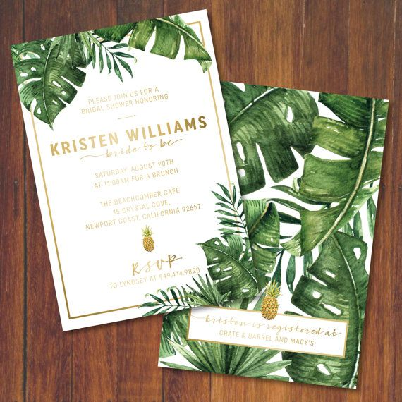 Golden Pineapple Palm and Banana Leaves Invitation + Free Thank You Card $25.00 on ETSY.