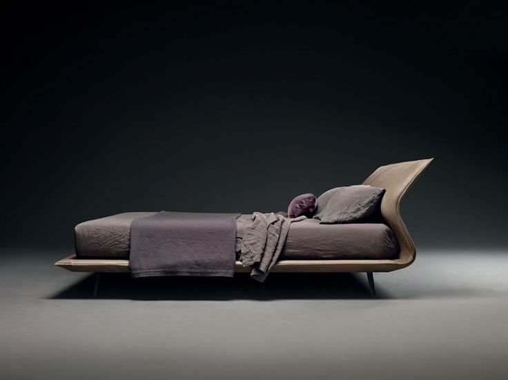 Upholstered double bed with adjustable headrest NIGHT&DAY | Leather bed - MOLTENI & C.