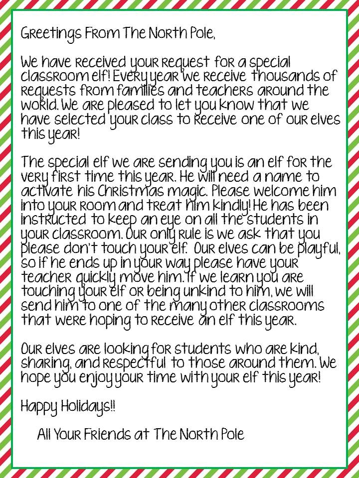FREEBIE: Letter from The North Pole to introduce your classroom Elf!! Works for any grade. Boy and Girl version available.