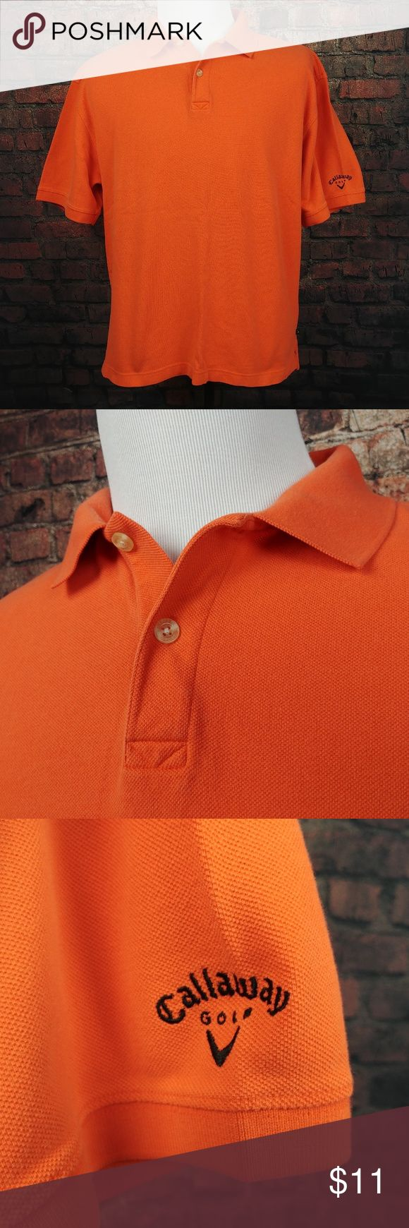 """Callaway Golf Sport Polo Shirt Mens Large Orange Callaway Golf Sport Polo Shirt Mens Large Orange Collared Rugby Adult SS Solid  C18:16:W08-18:P  Very Good Condition! No Rips or Holes. (See Photos).  Item Dimensions (Approximately):      24.5"""" - Pit to Pit     27"""" - Shirt Length (Front Side)  Questions? Please ask, I try to respond immediately!   I ship daily to get you your item ASAP!   Just a common guy bringing you great deals, superb customer service is my goal.  -Cooper @ CoopsThrifts…"""
