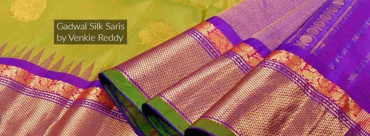 Sycamore Green Gadwal Silk Sari with Royal Purple Pallu