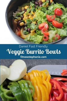 Veggie burrito bowl recipe with beans, rice, bell peppers and toppings. Great Daniel Fast recipe, vegan recipe, and frugal quick dinner idea.