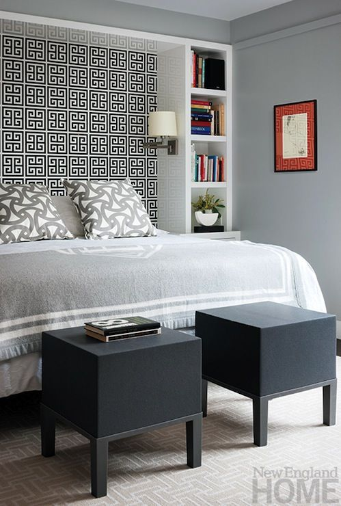 I like the bookshelf idea to frame the bed to make an inlaid headboard with  wall paper (Diy Storage Headboard)