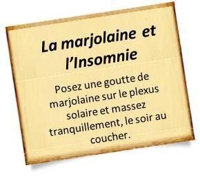 lutter contre l'insomnie Pour un bon sommeil et pour lutter contre l'insomnie, les huiles essentielles peuvent être utilisées en massage, en diffusion, à avaler ou encore en bain Le premier réflexe pour un bon sommeil : l'huile essentielle de marjolaine. Posez une goutte de cette huile essentielle sur le plexus solaire et massez tranquillement, le soir au coucher.