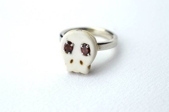Reserved Skull ring synthetic ruby ring  Mexican by BethCarina