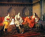 "Harem (‎""forbidden place; sacrosanct, sanctum"", related to حريم ḥarīm, ""a sacred inviolable place; female members of the family"" and حرام ḥarām, ""forbidden; sacred"") refers to the sphere of women in what is usually a polygynous household and their enclosed quarters which are forbidden to men. It originated in the Near East and is typically associated in the Western world with the Ottoman Empire. For the South Asian equivalent, see purdah and zenana."