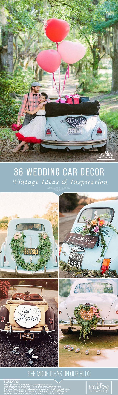 36 Vintage Wedding Car Decorations Ideas ❤️ See more: http://www.weddingforward.com/wedding-car-decorations/ #wedding #bride #weddingdecor #weddingdecorations #weddingcardecorations