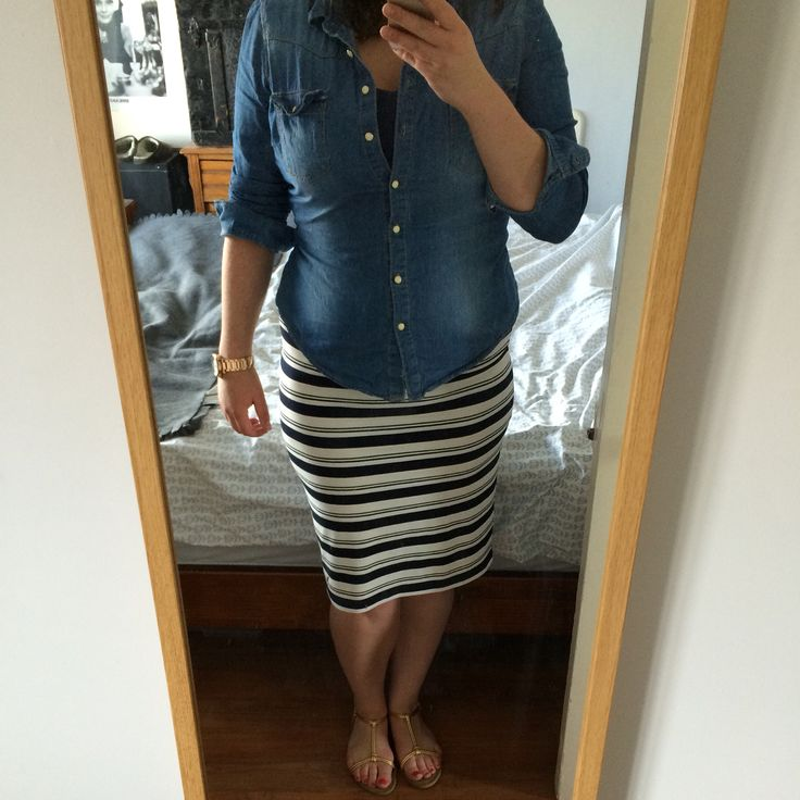 Casual lunch outfit: Denim shirt from Penneys/Primark, navy tank & gold sandals from H&M, striped stretch pencil skirt from Next, rose gold watch from DKNY