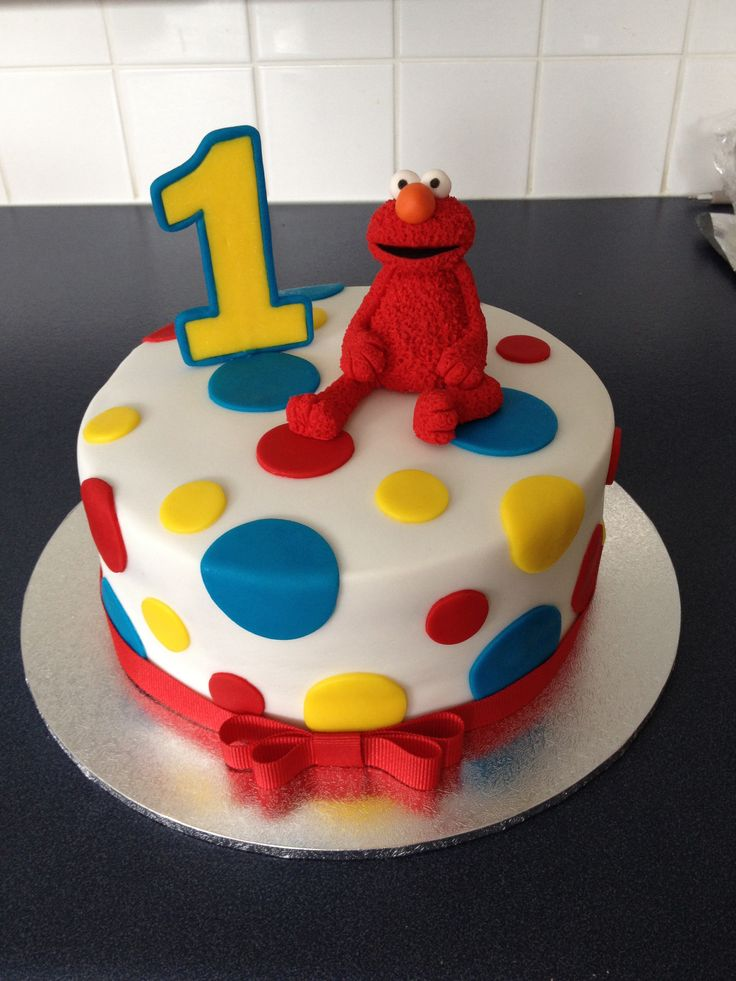 """Elmo cake for Mothers Group Joint 1st Birthday party.  7"""" White chocolate mud cake with chocolate ganache."""
