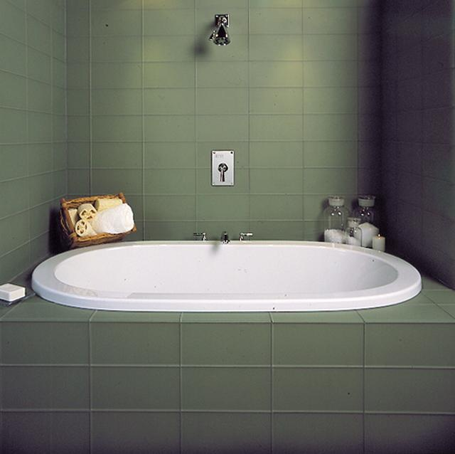 Clean soothing green glass tile deep soaking tub zen space bathrooms pinterest soaking - Deep tubs for small spaces concept ...