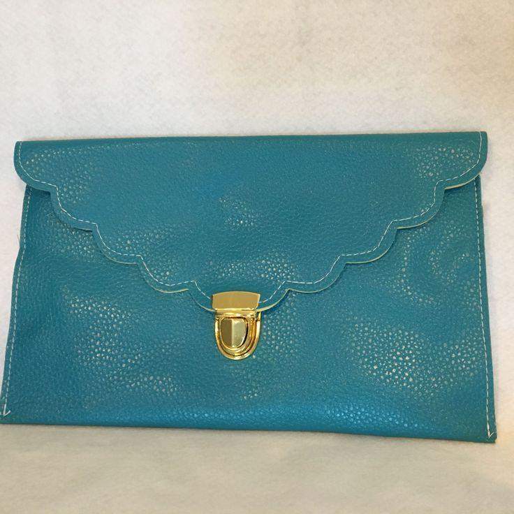 Personalized Clutch, Custom Clutch, Monogrammed Clutch, Turquoise Blue Clutch, Scallop Clutch, Envelope Clutch