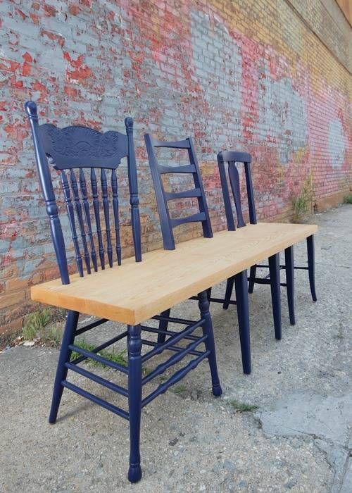 3 chaises à repeindre, 1 planche et zou un magnifique banc !