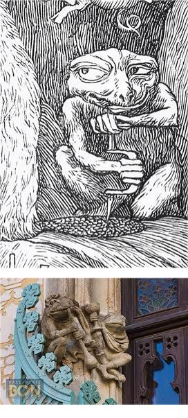 Top. Toad trephines the tail of the beaver. Plate  6 of illustration by Henry Holiday for The Hunting of the Snark by Lewis Carroll 1876  Bottom. Frog blowing glass. Sculpture by Eusebi Arnau on the Casa Amatller. Barcelona 1900