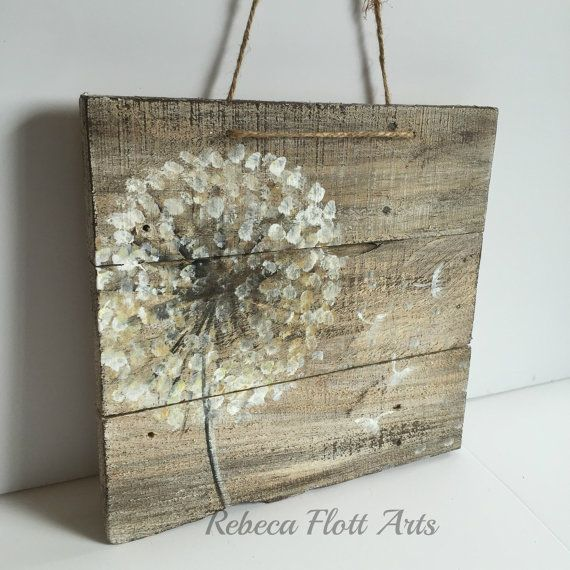 Dandelion on rustic woodreclaimed woodoriginal by RebecaFlottArts