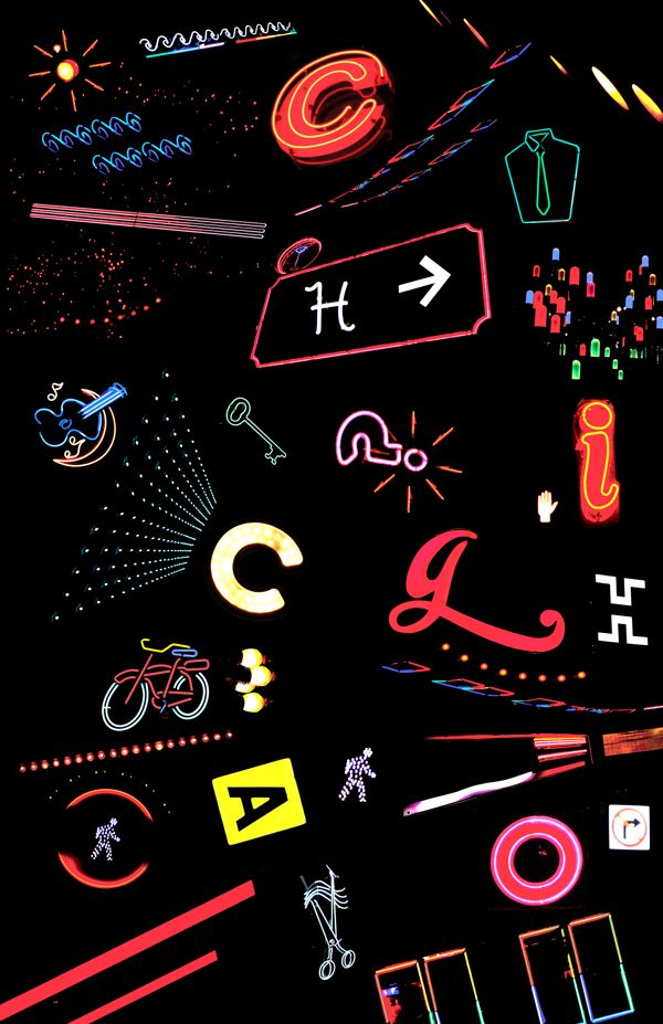 Though less of a type specimen poster and more of a montage, it still shares characteristics. The lit colors of neon signs at night blend into kaleidoscope of information, much like what one would see driving through the city at night.