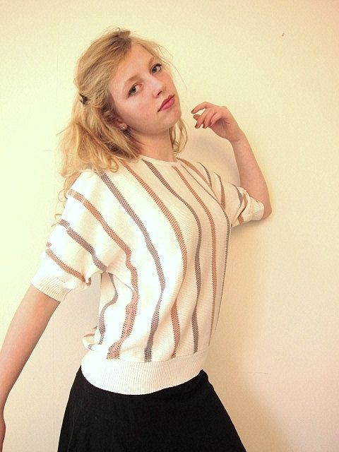 SALE Batwing cream sweater with pink and grey stripes by vonBingen