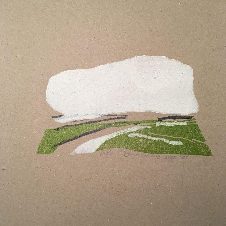 lino cut handprinted 20x20 cm | dutch landscape polder