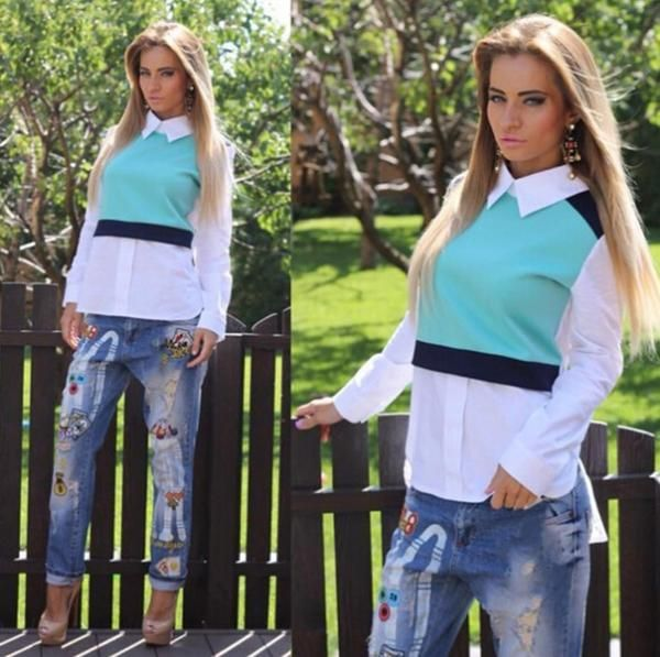 Patchwork Turn-down Collar Long Sleeves Two Pieces Blouse - Meet Yours Fashion - 2