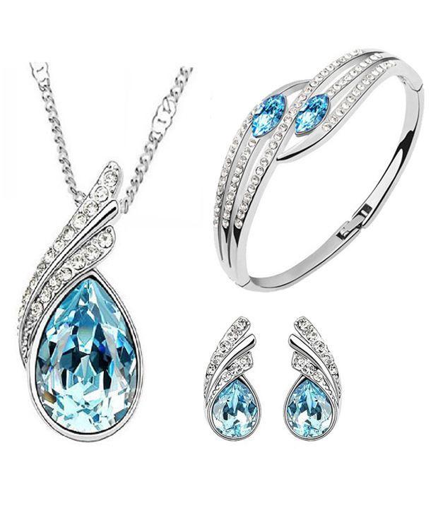 Buy Cyan Ocean Blue Austrian of Crystal Pendant With Earrings And Bracelet