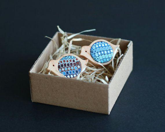 Wood Cufflinks  Bird Jewelry  Bird Cufflinks  by FoffaHandmade