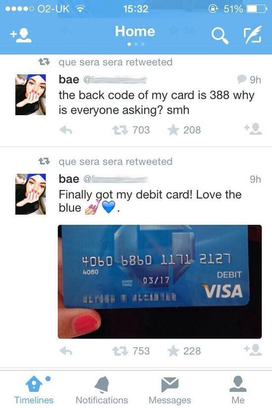 funny dumb tweet credit card. I'm shaking my head so hard. Come on people!!!