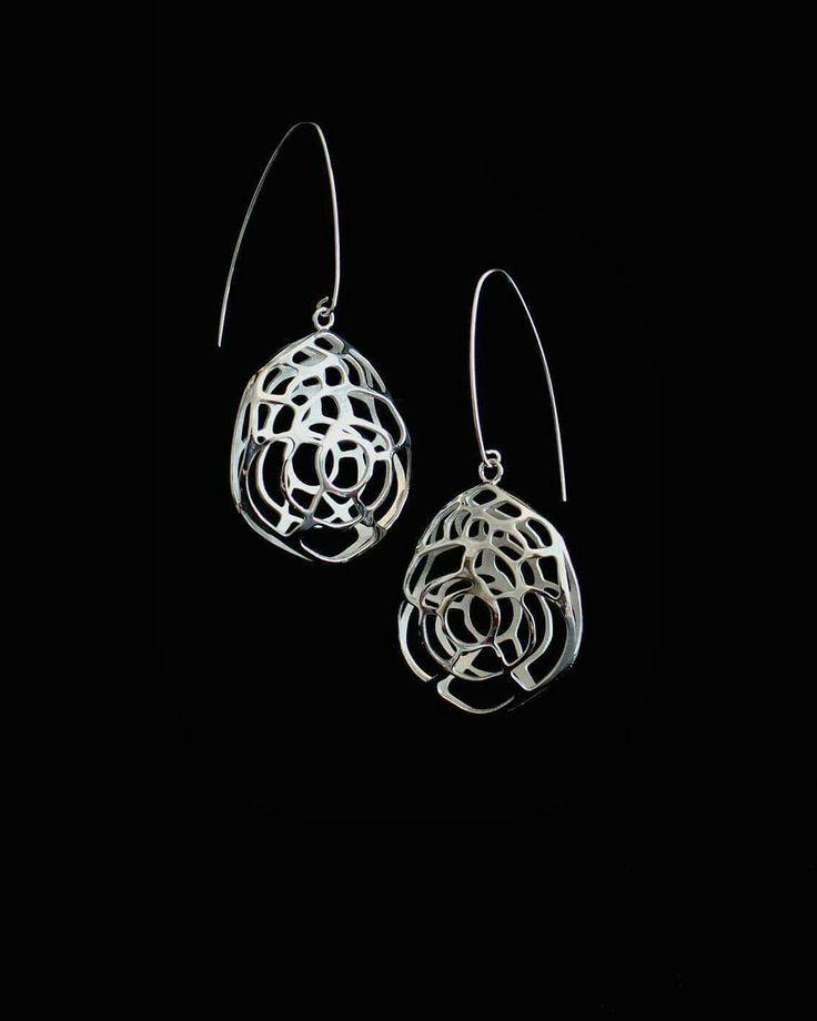 Earrings made by Mirka Laine #design #jewelry #jewellry #earrungs #finnish #silver