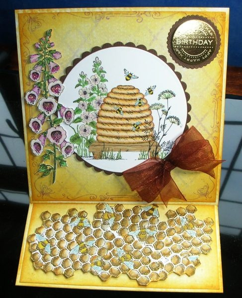 A card I made using Chocolate Baroque Honey Bee stamps. They are a delight to work with.