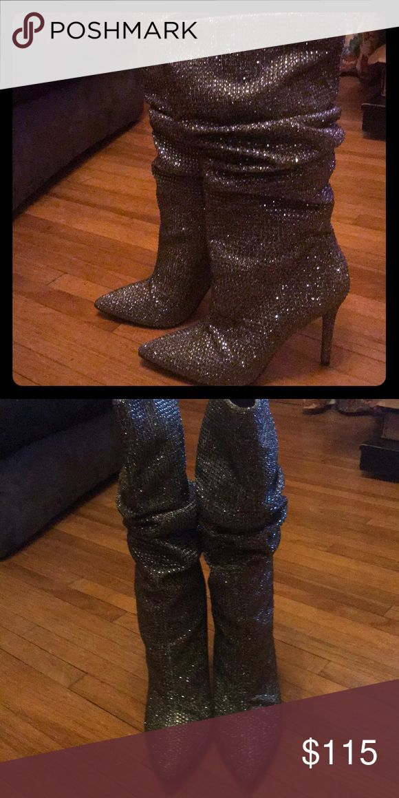 Pewter Multi Glitter Gabor boots Cute pewter shiny, rhinestone studded boots. Worn only once. Jessica Simpson Shoes Ankle Boots & Booties
