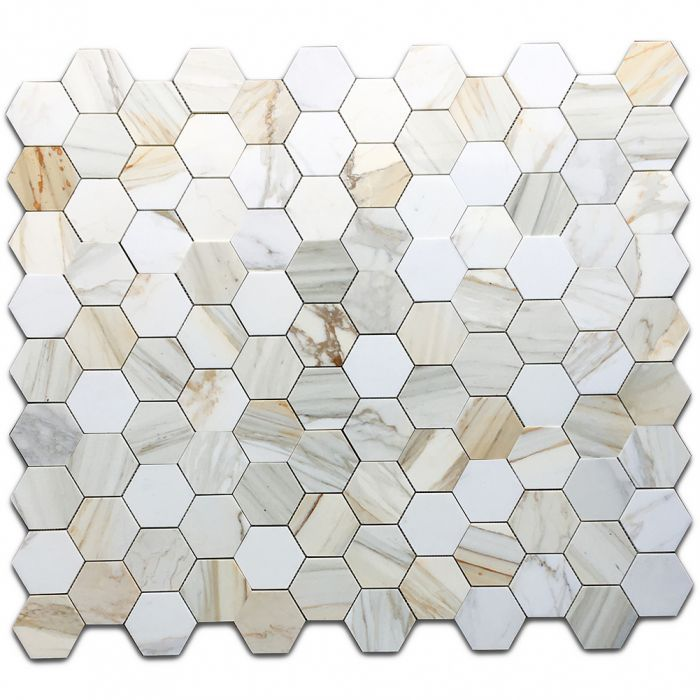 Calacatta Gold Marble 4 Inch Hexagon Mosaic Tile Polished In 2020 Hexagon Mosaic Tile Hexagonal Mosaic Calacatta Gold Marble