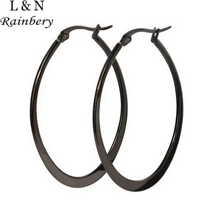 Rainbery Earrings Stainless Big Steel Gold/Silver/Black Plated Fashion Jewelry Wholesale Round Large Size Hoop Earrings Women