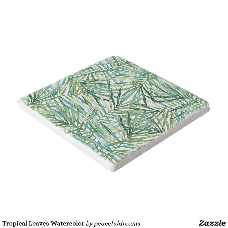 Tropical Leaves Watercolor Trivet
