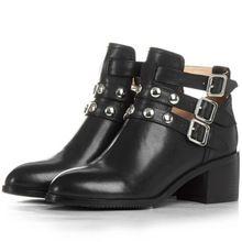 Outono de 2016 mulheres da moda genuine couro de grão cheio botas de tornozelo calcanhar quadrado dedo apontado sapatos mulher fivela cowskin curto bota(China (Mainland))