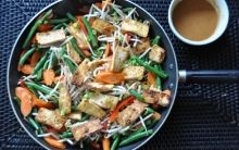 Stir-Fried Vegetables, Rice & Tofu with Mustard Peanut Sauce