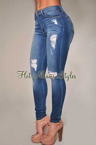 Light  Denim Destroyed High Waist Skinny Jeans