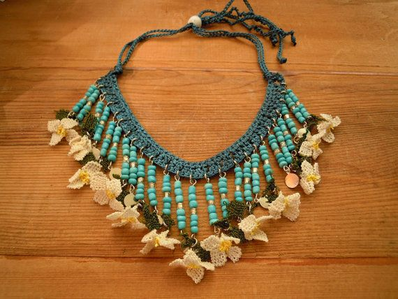 bib necklace turquoise teal white oya flowers by PashaBodrum