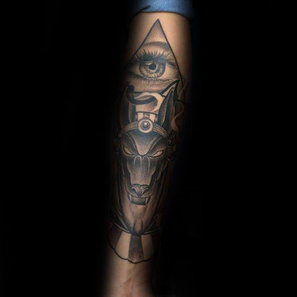 Pyramid Eye Anubis Mens Arm Tattoos