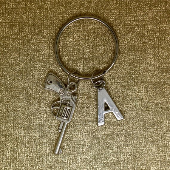 Revolver /Pistol /Gun initial keychain silver by AgouraDesign
