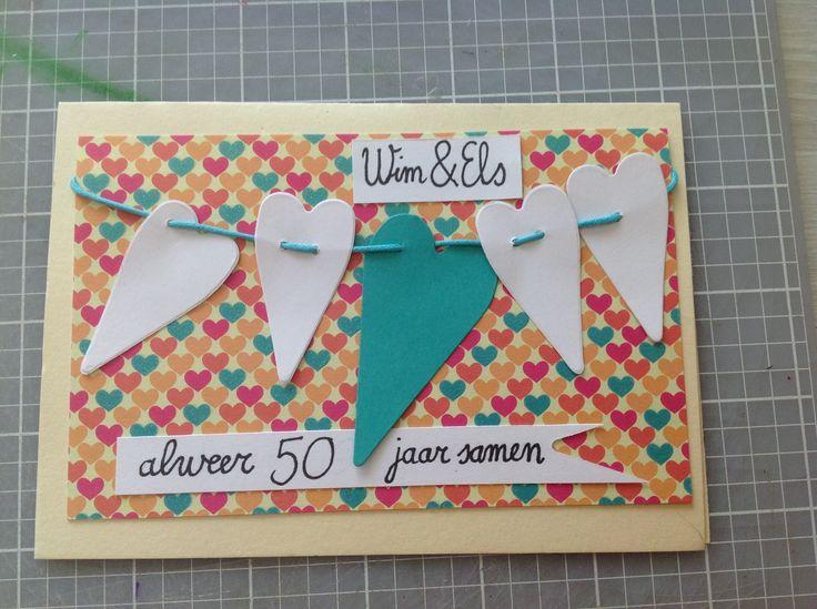 Kaartje voor Wim en Els. 50 jaar getrouwd.