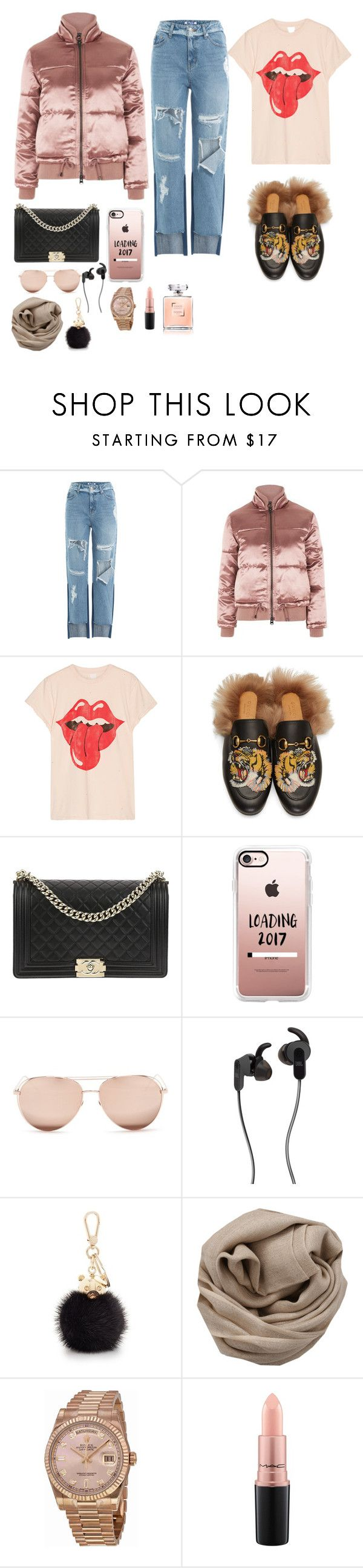"""#i really love ! 💙💙💙"" by joe-khulan on Polyvore featuring SJYP, Topshop, MadeWorn, Gucci, Chanel, Casetify, Linda Farrow, JBL, Furla and Brunello Cucinelli"