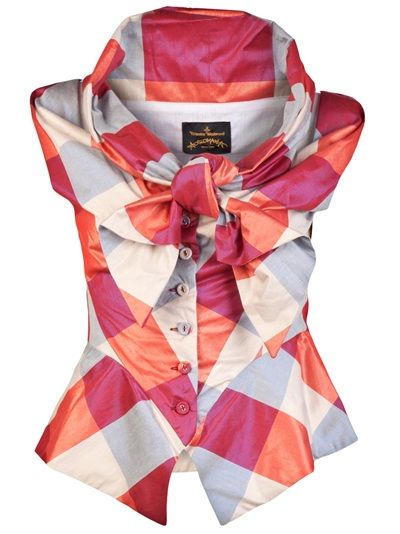 Sunday bow blouse in pink and red checker print from Vivienne Westwood Anglomania. This cotton sleeves less blouse features a bow neck tie, draped scoop neckline, front button down panel, and peplum panel at waist. ga ga ga ga ga ....