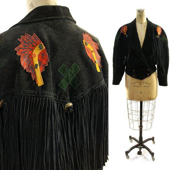 80s Fringed Indian Patchwork Suede Jacket / Black by SpunkVintage, $124.00