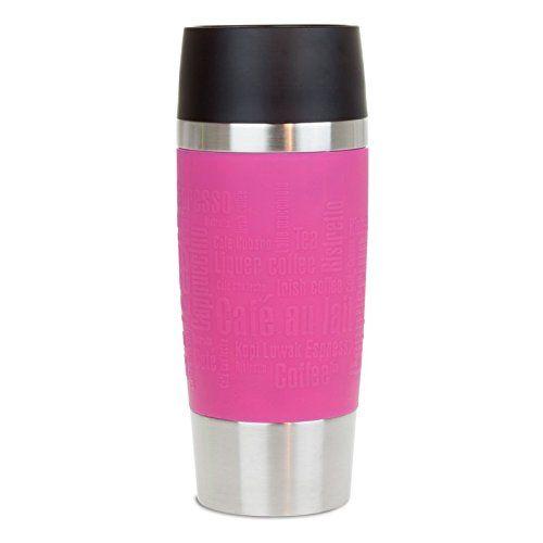 Geschenke 24 Emsa Thermobecher selbst gestalten - personalisiertes Geschenk für Männer und Frauen - Travel Mug mit Namen gravieren (Pink)